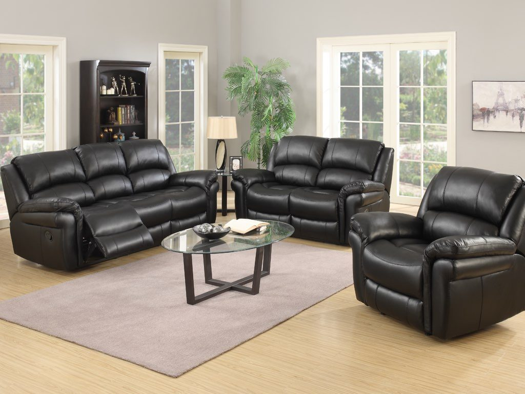 Surrey Reclining Suite - Black Faux Leather