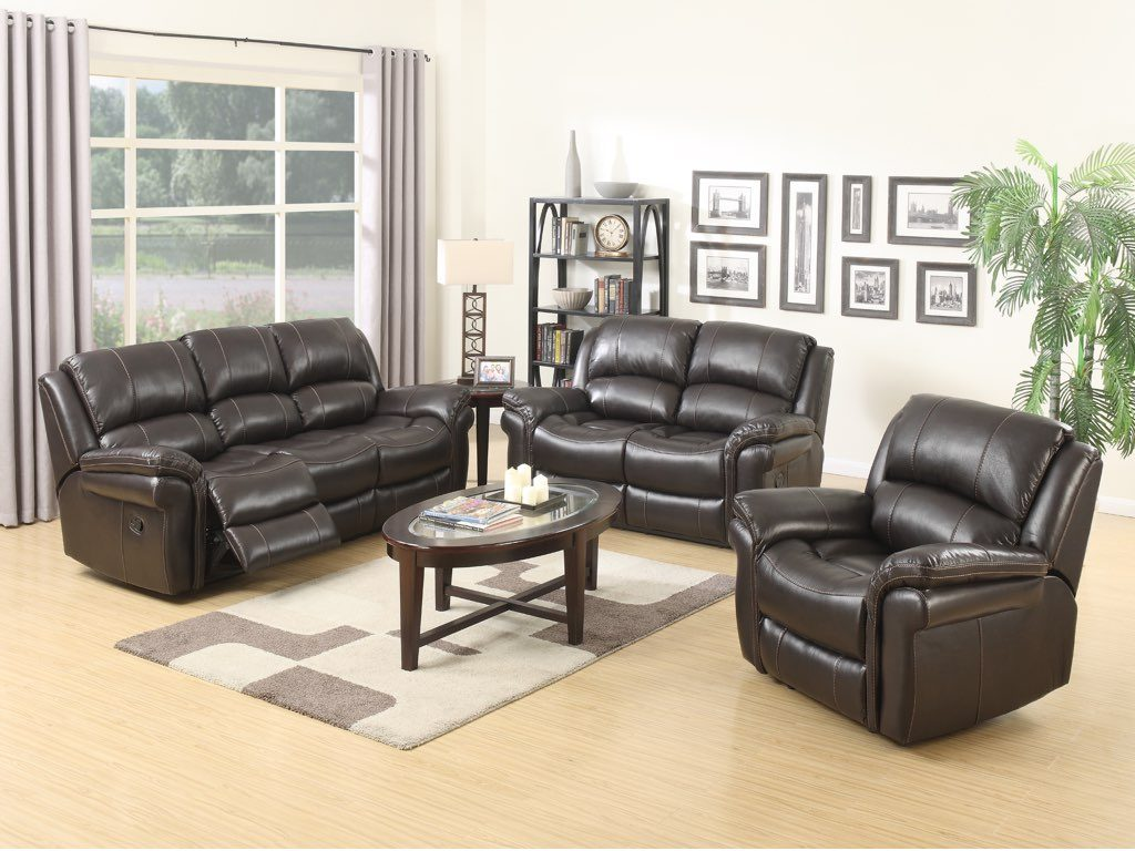 Surrey Reclining Suite - Brown Faux Leather