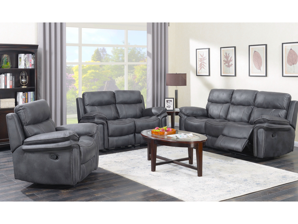 Richard Reclining Suite in Charcoal Grey
