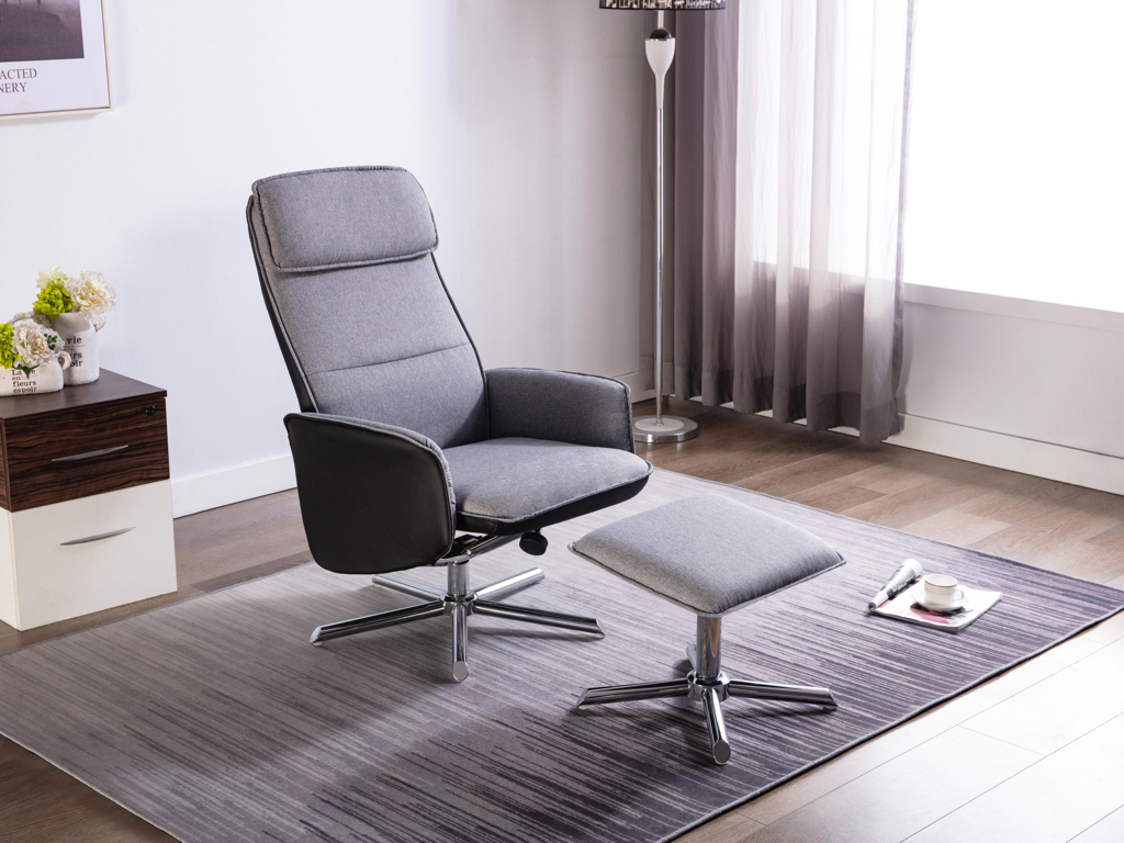 Siri Swivel Recliner Chair and Footstool - Our Price £429